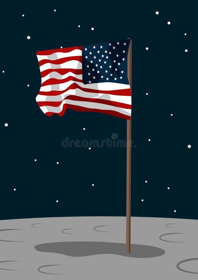 Флаг США на поверхности луны иллюстрация штока