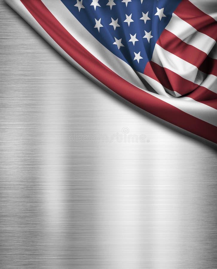 Флаг США над предпосылкой металла стоковые фотографии rf