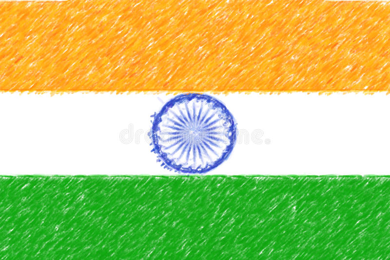 Флаг текстуры предпосылки o Индии, влияния карандаша цвета бесплатная иллюстрация