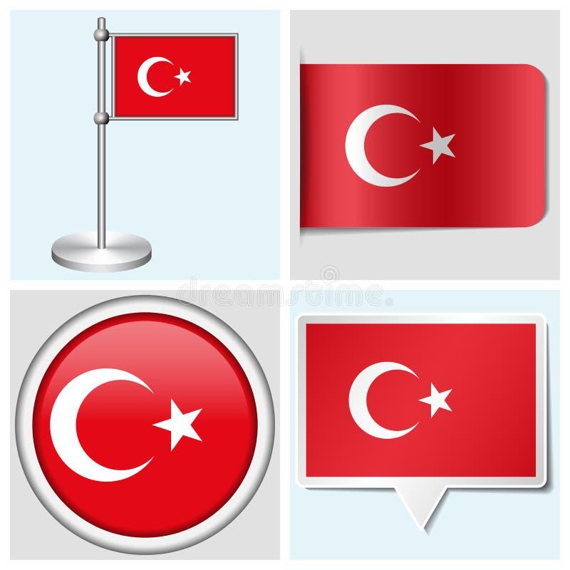 Флаг Турции - комплект стикера, кнопки, ярлыка и fl иллюстрация штока