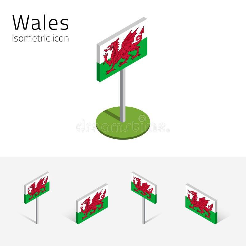 Флаг Уэльса, Великобритании значки вектора 3D равновеликие бесплатная иллюстрация