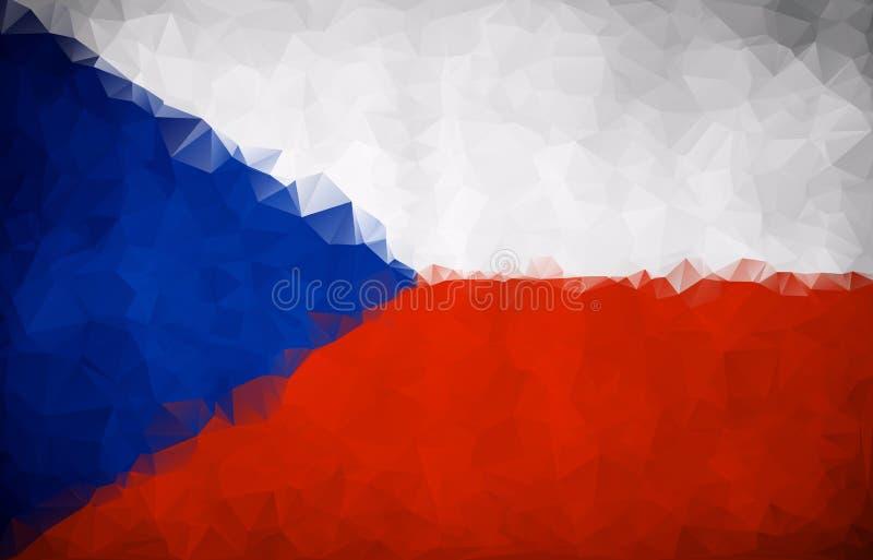 Флаг чехии, геометрического полигонального треугольника иллюстрация штока