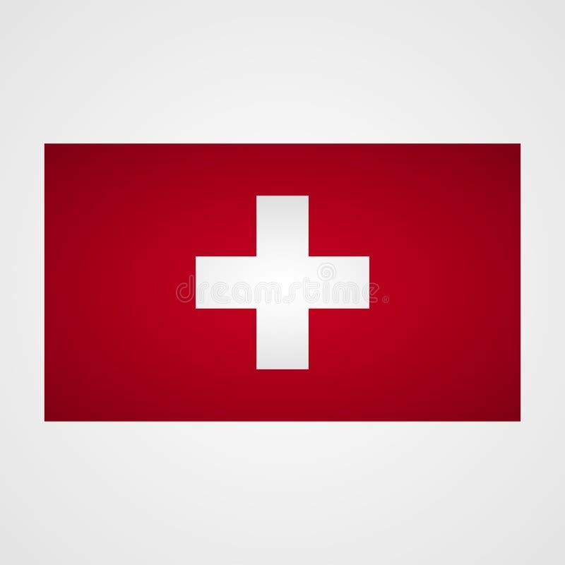 Флаг Швейцарии на серой предпосылке также вектор иллюстрации притяжки corel иллюстрация штока