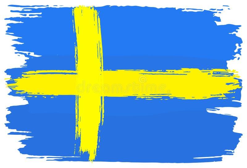 Флаг Швеции покрасил с ходами щетки иллюстрация вектора