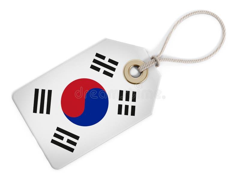 Флаг Южной Кореи на изолированной бирке иллюстрация штока