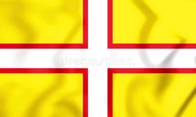 флаг 3D Дорсета, Англии иллюстрация вектора