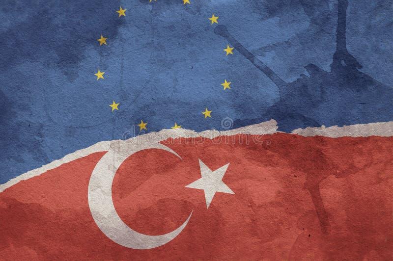 Флаг Turkish и флаг Европейского союза стоковое фото