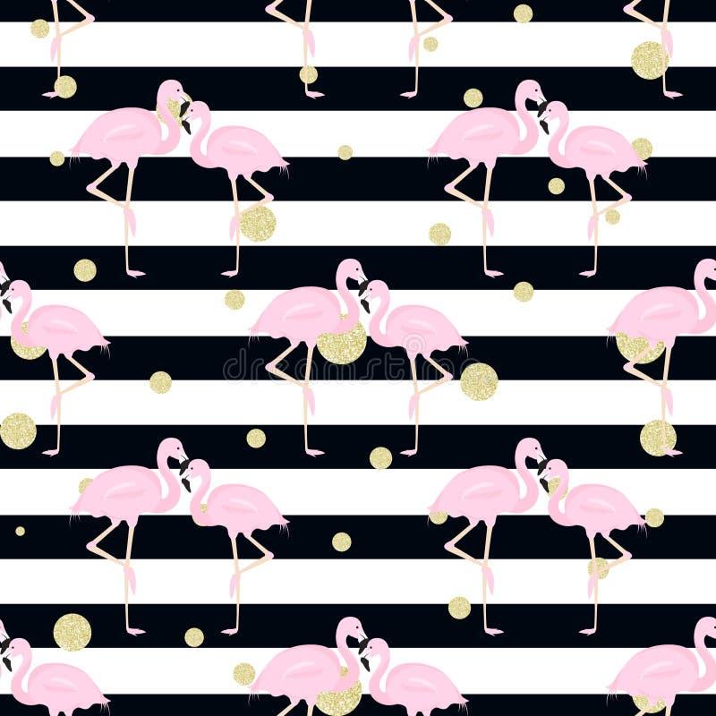 Фламинго, точки польки нашивки иллюстрация штока