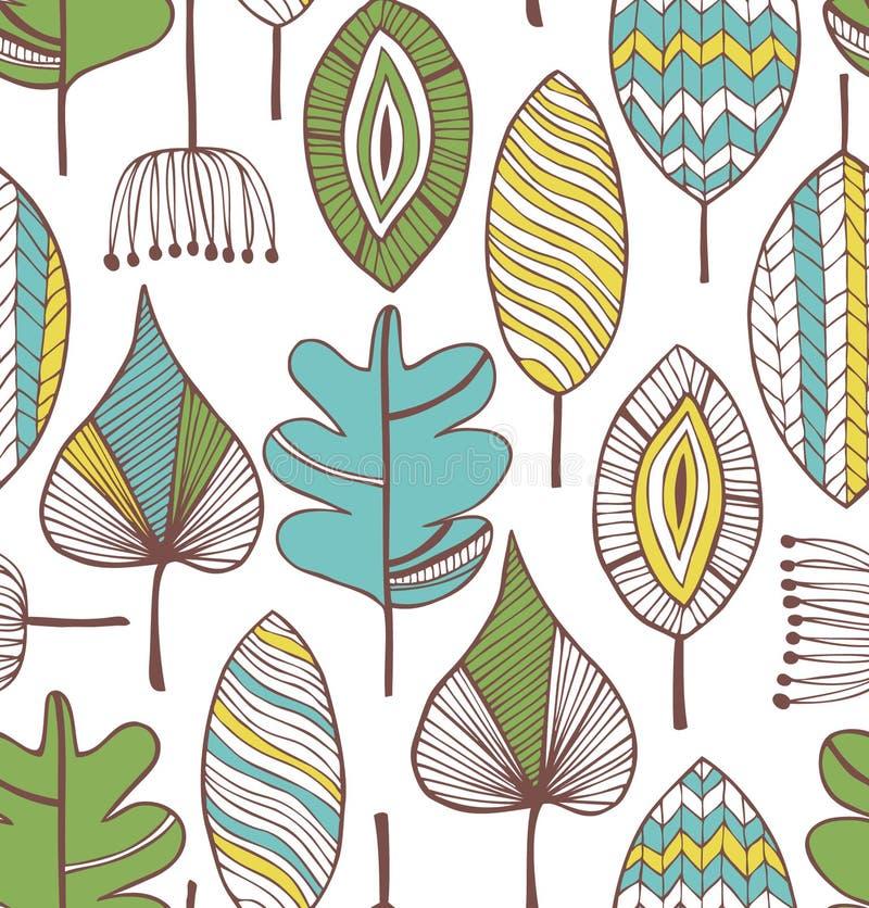 Флористическая безшовная декоративная картина. Предпосылка Doodle с листьями иллюстрация штока