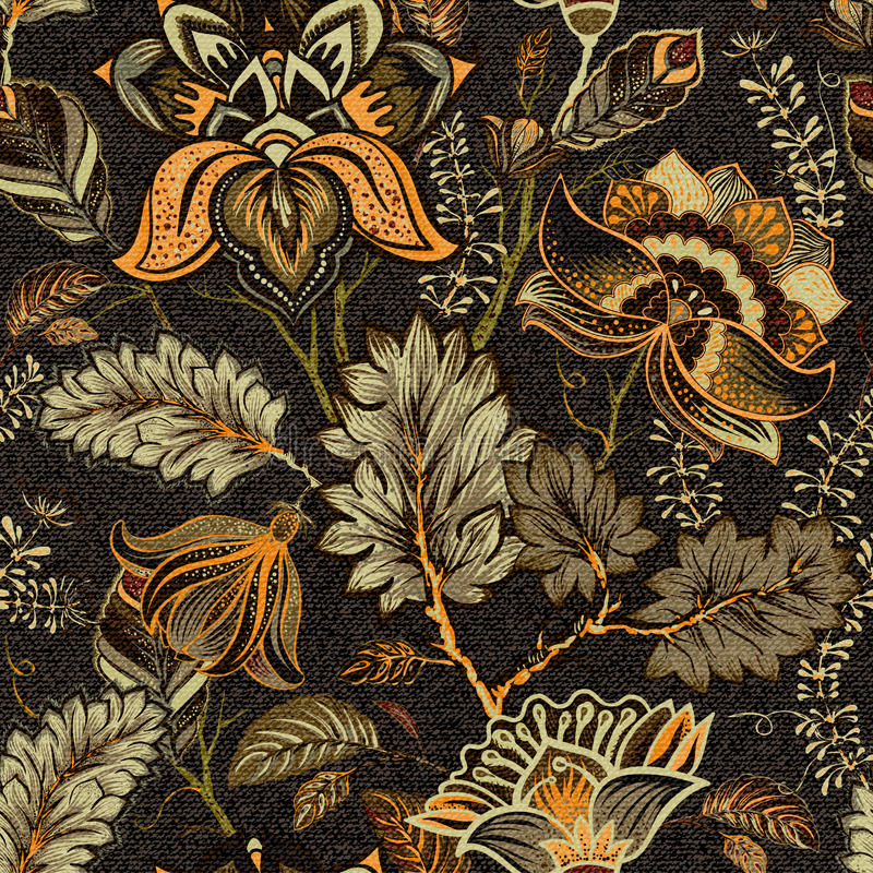 Флористическая безшовная картина, влияние текстуры индийский орнамент Цветки и Пейсли вектора декоративные Этнический тип Констру иллюстрация вектора