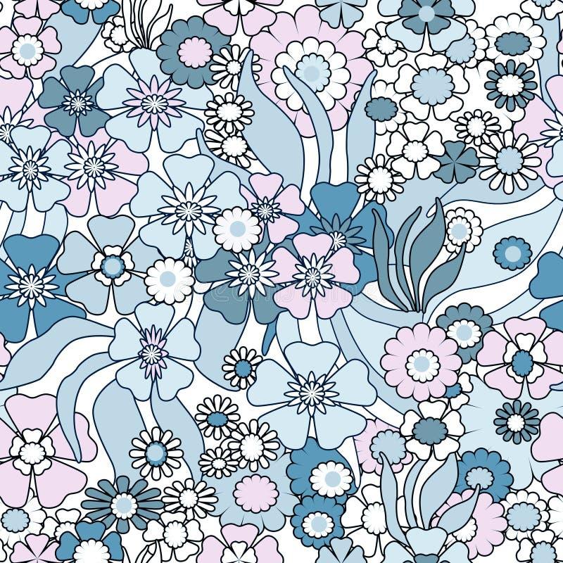 Флористическая безшовная картина в ретро стиле, bac цветков шаржа милом иллюстрация вектора