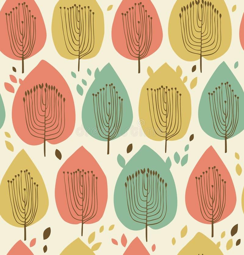 Флористическая безшовная картина в скандинавском стиле. Текстура ткани с декоративными деревьями иллюстрация вектора