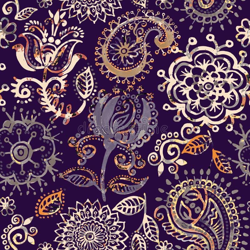 Флористическая безшовная картина в стиле Пейсли Абстрактные обои с цветками Декоративный ботанический фон бесплатная иллюстрация