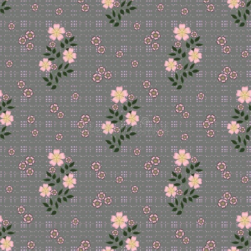 Флористическая безшовная картина, милый шарж цветет серая предпосылка в пылинках бесплатная иллюстрация