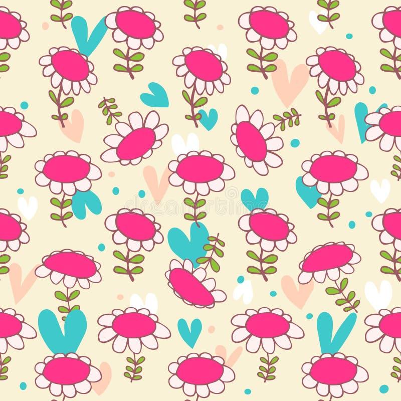 Флористическая безшовная картина младенца Текстура Camomiles чувствительная Маргаритка цветки предпосылки яркие иллюстрация штока