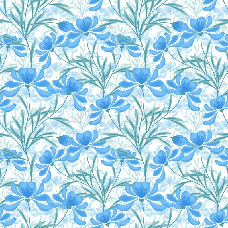Флористическая безшовная картина, свет шаржа милый - синь цветет белая предпосылка иллюстрация вектора