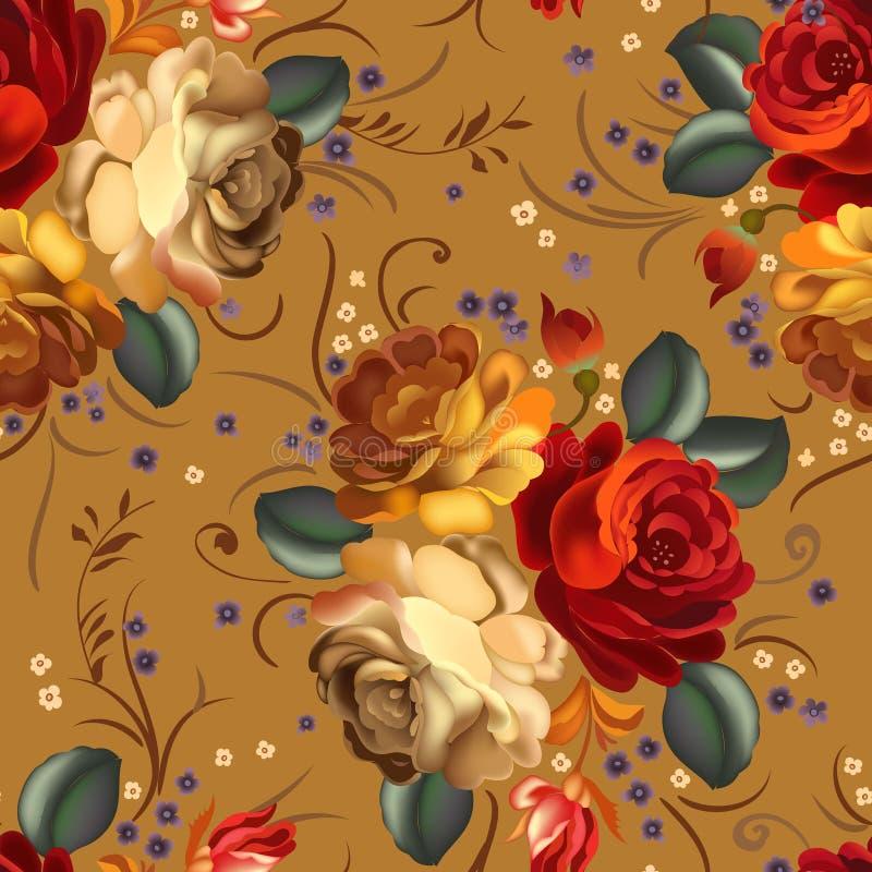 Флористическая безшовная картина с винтажными цветками иллюстрация штока