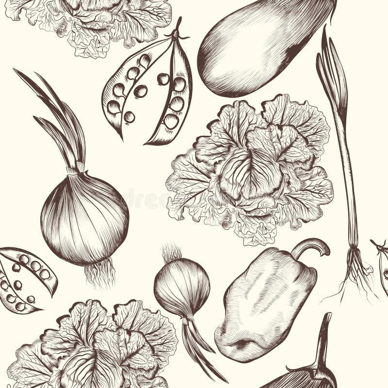 Флористическая безшовная картина с выгравированными овощами иллюстрация штока