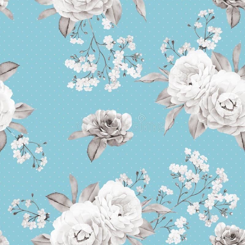 Флористическая безшовная картина сделанная бесцветной розы на голубом бесплатная иллюстрация