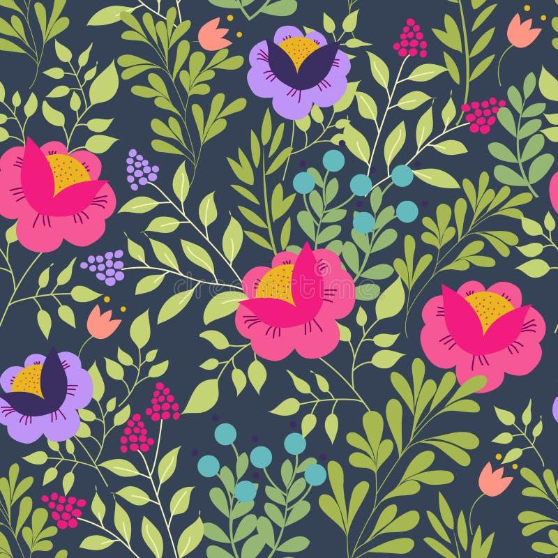 Флористическая безшовная картина с красивыми розовыми цветками Дизайн леса Экзотические цветки, ягоды и листья картина для иллюстрация вектора