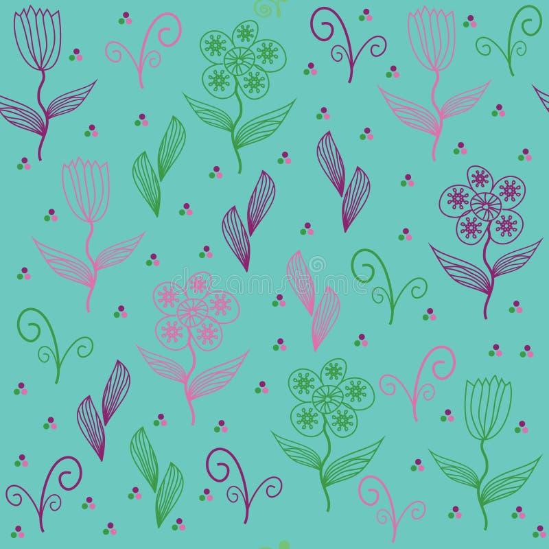 Флористическая безшовная картина с милым абстрактным цветком. Безшовное PA иллюстрация вектора