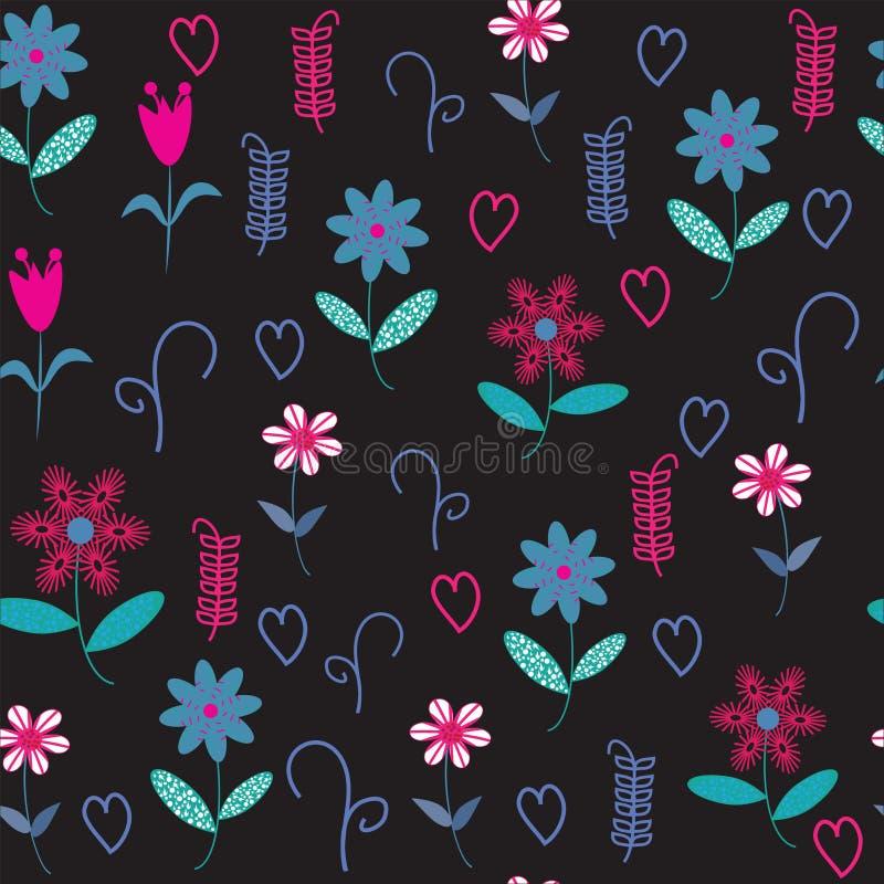 Флористическая безшовная картина с сердцами и цветками. Безшовное patte бесплатная иллюстрация
