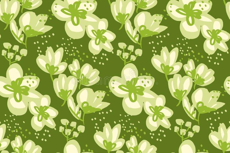 Флористическая безшовная картина для поверхностного дизайна иллюстрация штока