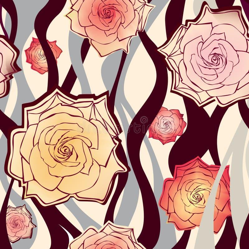 Флористическая безшовная предпосылка. нежная картина роз цветка. иллюстрация вектора