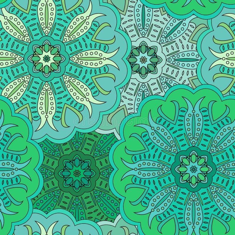 Флористическая восточная безшовная картина сделанная много мандал предпосылка красит зеленый цвет Иллюстрация вектора в восточном иллюстрация вектора