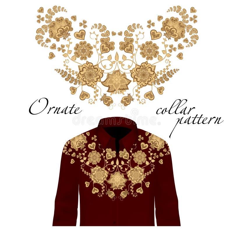 Флористическая вышивка шеи скручиваемости для блузок Вектор, иллюстрация Украшение для одежд Передний дизайн воротника иллюстрация вектора