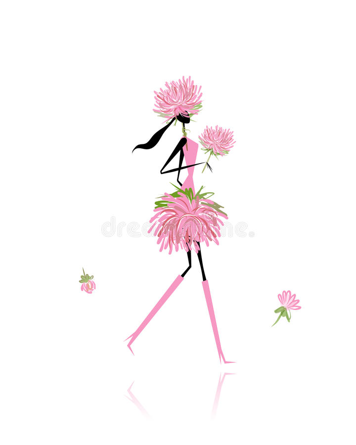 Флористическая девушка для вашего дизайна бесплатная иллюстрация