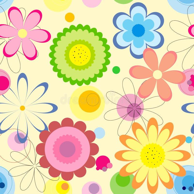 флористическая картина безшовная Красочные цветки на светлой предпосылке бесплатная иллюстрация