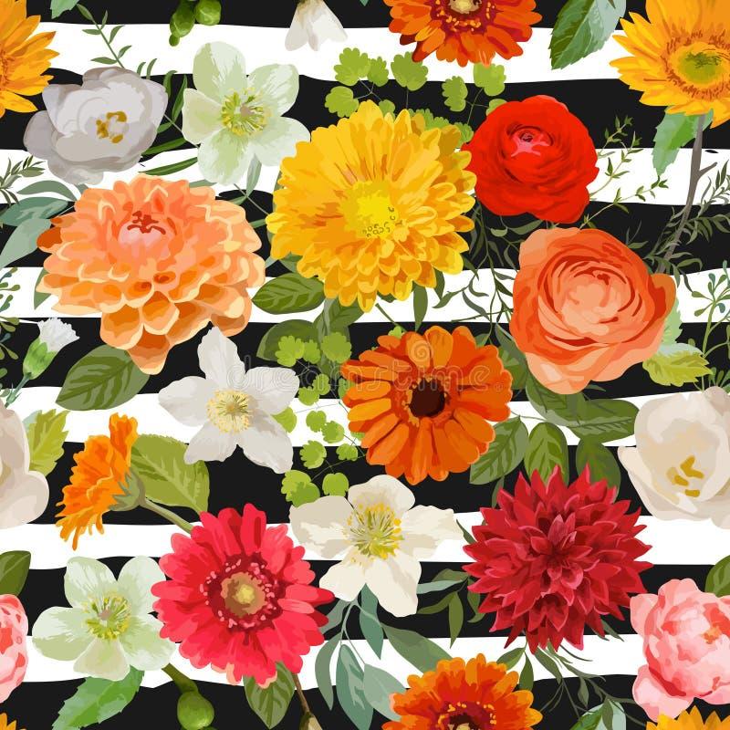 флористическая картина безшовная Предпосылка цветков лета и осени иллюстрация вектора