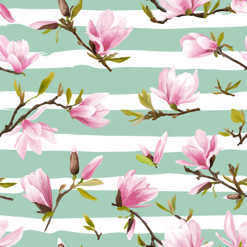 флористическая картина безшовная цветет magnolia бесплатная иллюстрация