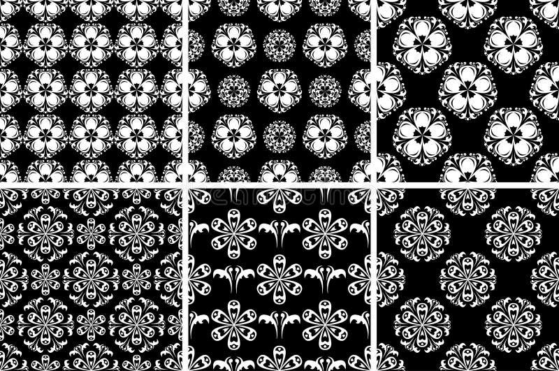 флористическая картина безшовная Черно-белые абстрактные предпосылки бесплатная иллюстрация