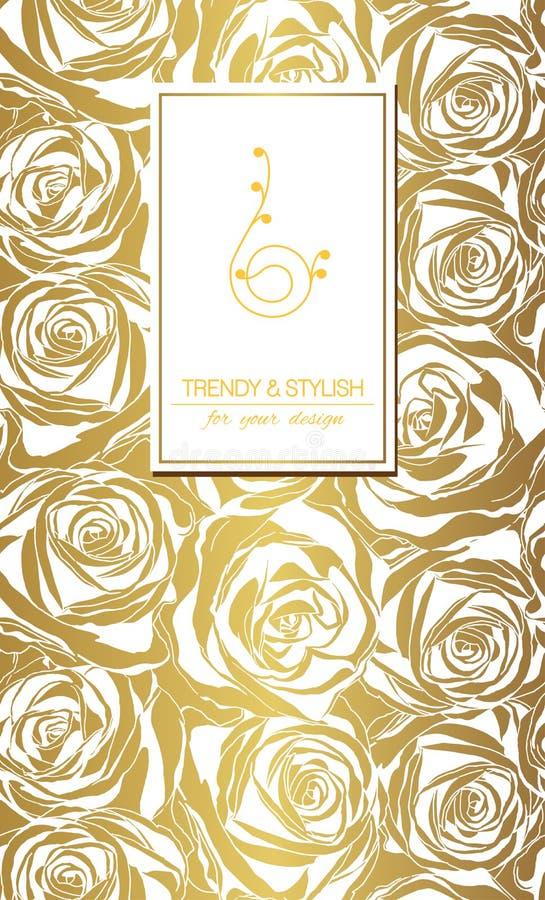 Флористическая карточка на золоте с белыми розами и место для текста иллюстрация штока