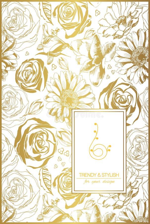 Флористическая карточка на золоте с орнаментом шнурка и место для текста бесплатная иллюстрация