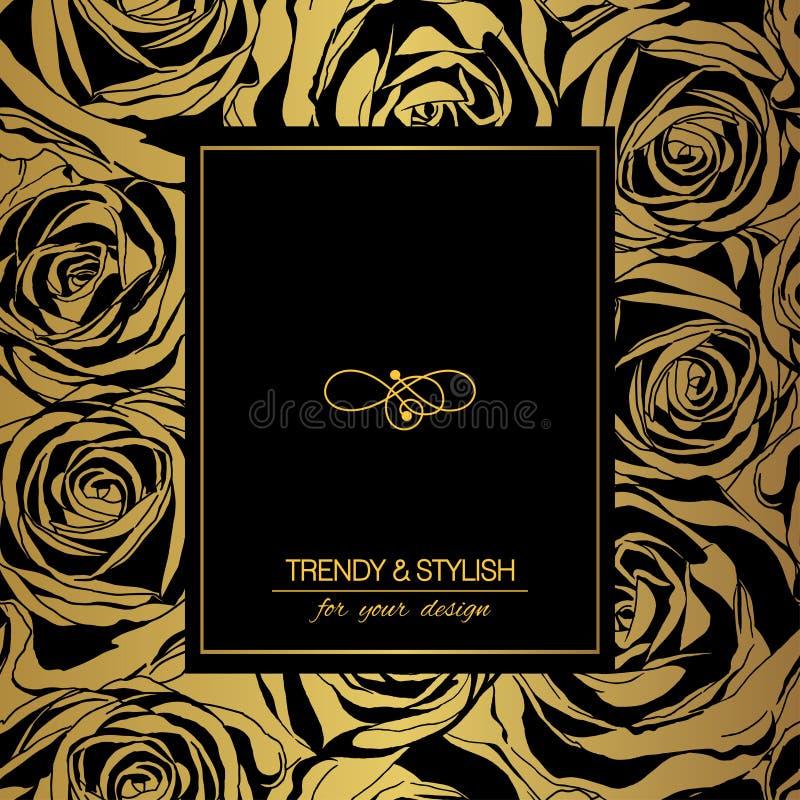 Флористическая карточка на золоте с черными розами и место для текста иллюстрация вектора