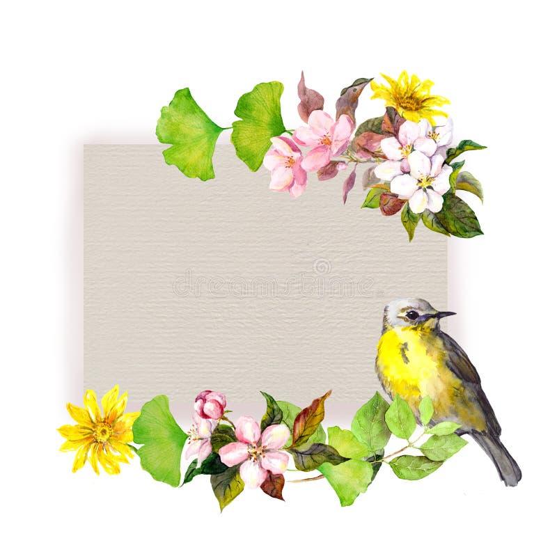 Флористическая карточка - цветки и милая птица на бумажной текстуре Картина акварели иллюстрация вектора