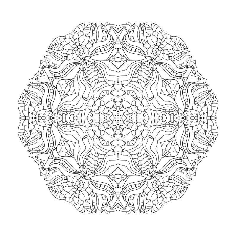 Флористическая мандала Картина для книжка-раскраски в векторе бесплатная иллюстрация