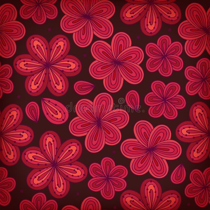флористическая орнаментальная безшовная картина цветки предпосылки декоративные Бесконечная богато украшенная текстура для печате бесплатная иллюстрация