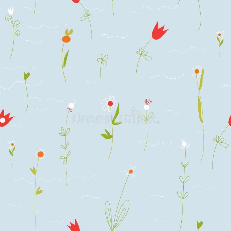 Флористическая пастельная безшовная картина с малыми цветками иллюстрация штока