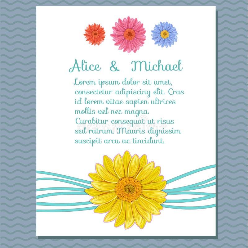 Флористическая поздравительная открытка приглашения иллюстрация штока