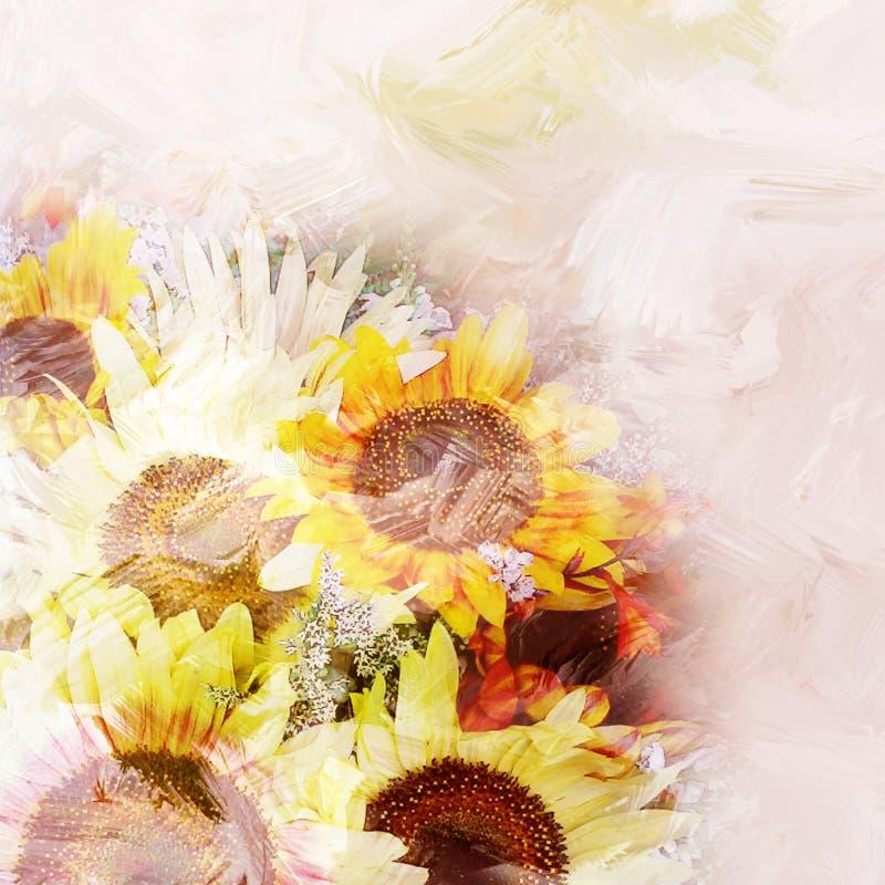 Флористическая предпосылка с стилизованным букетом солнцецветов бесплатная иллюстрация