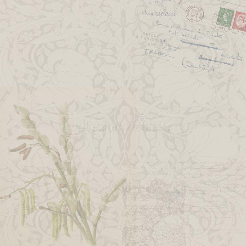 Предпосылка год сбора винограда флористическая с открыткой иллюстрация вектора