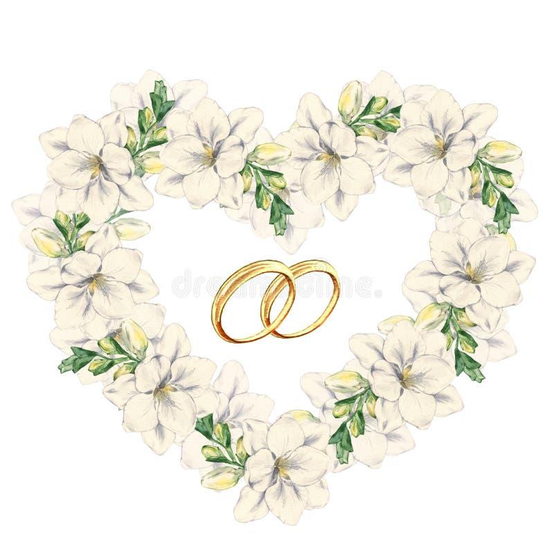 Флористическая рамка в форме сердца freesia с обручальными кольцами бесплатная иллюстрация