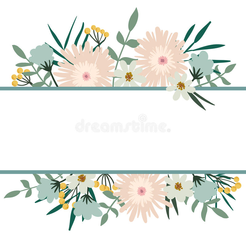 флористическая рамка обрамляет серию Крышка букета цветка винтажная Карточка эффектной демонстрации иллюстрация вектора