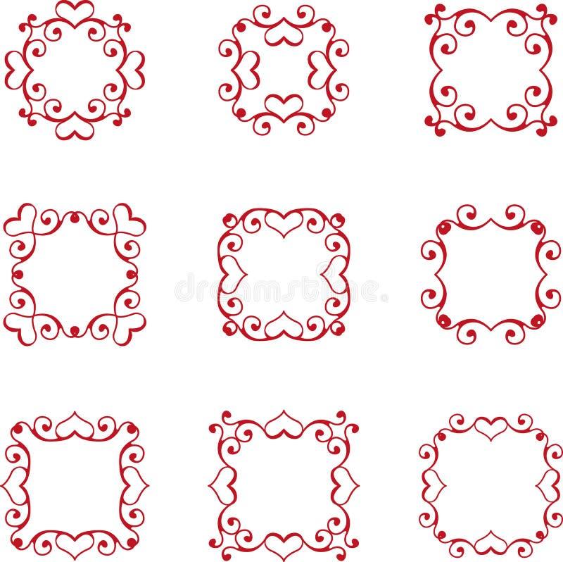 Флористическая рамка сердца иллюстрация штока