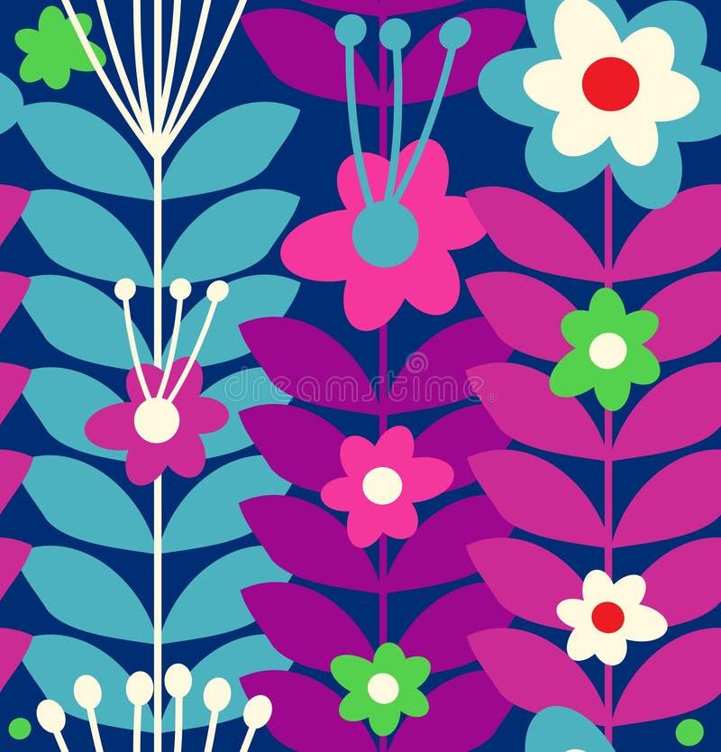 Флористическая стильная безшовная картина Милые цветки doodle на темной предпосылке иллюстрация штока
