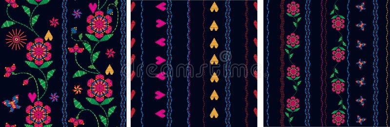 Флористическая традиционная вышивка Этническая конструкция текстуры иллюстрация штока